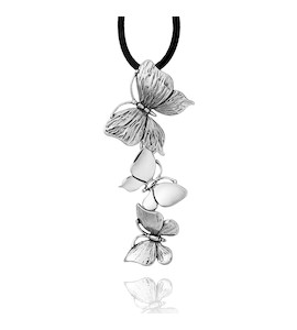 "Колье ""Butteflies Necklace With Leather Lace"" cod. 6613"