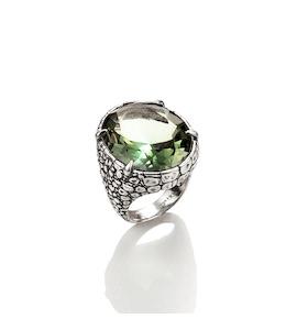 "Кольцо ""Crocodile Ring with Green Quartz"" cod. 9398"