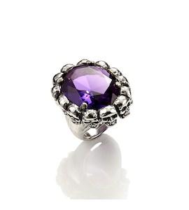 """Кольцо """"Skulls Ring with Violet Quartz"""" cod. 9400"""