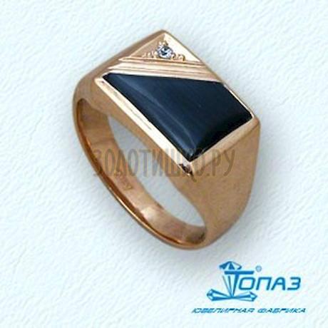 Кольцо с ониксом и фианитом 142048357