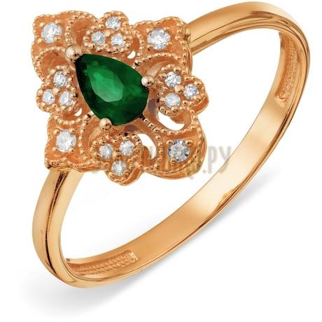 Кольцо с изумрудом и бриллиантами Т10101А121
