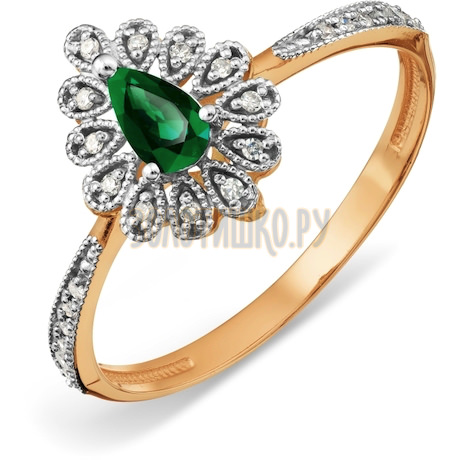 Кольцо с изумрудом и бриллиантами Т13101А122
