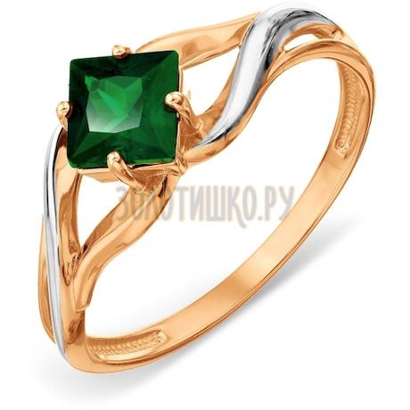 Кольцо с изумрудом искусственным Т14101А204-01