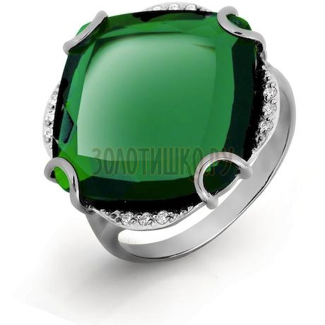 Кольцо с кварцем и фианитами Т303016569-01