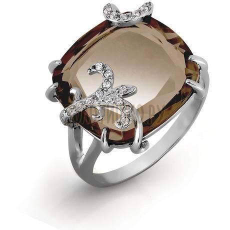 Кольцо с кварцем и фианитами Т303016572-02