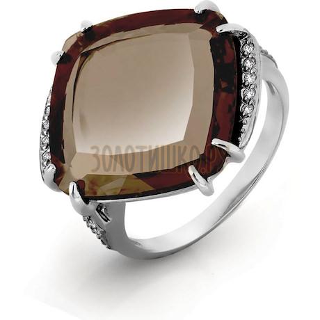 Кольцо с кварцем и фианитами Т303016573-02
