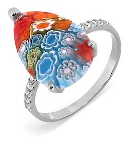 Кольцо с ювелирным стеклом и фианитами Т307017362