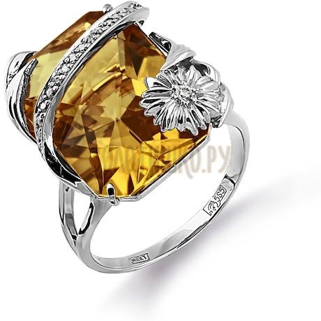 Кольцо с кварцем и бриллиантами Т331014146