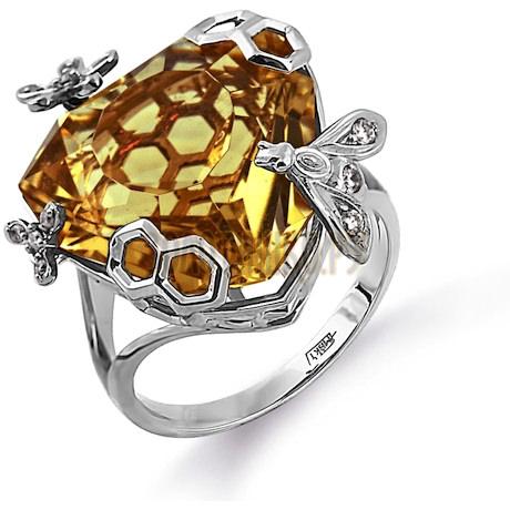 Кольцо с кварцем и бриллиантами Т331014148