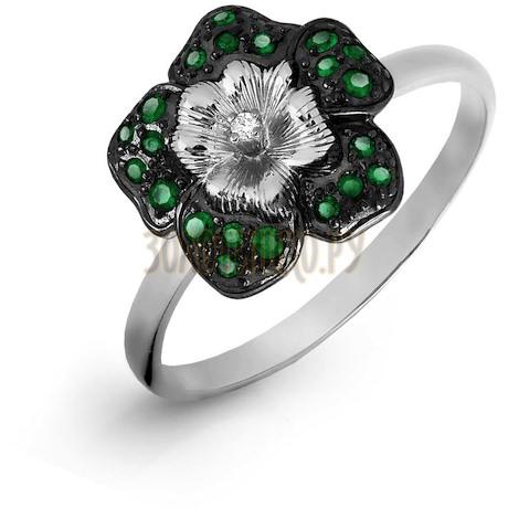 Кольцо с изумрудами и бриллиантом Т331016505_3