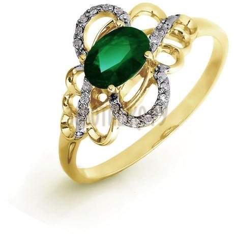 Кольцо с изумрудом и бриллиантами Т941016422_3