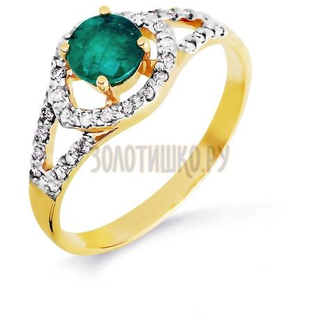 Кольцо с изумрудом и бриллиантами Т941016436