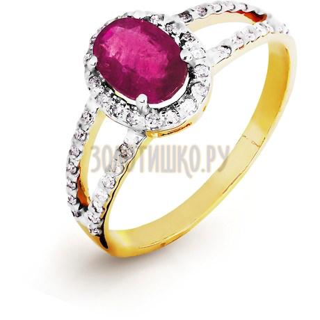 Кольцо с рубином и бриллиантами Т941016437_2