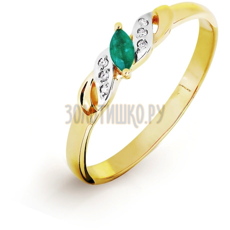 Кольцо с изумрудом и бриллиантами Т941016510_3