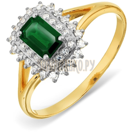 Кольцо с изумрудом и бриллиантами Т941017798_2