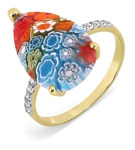 Кольцо с ювелирным стеклом и фианитами Т947017362