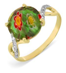 Кольцо с ювелирным стеклом и фианитами Т947017387