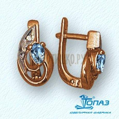 Серьги с топазами и бриллиантами Т13102186_4