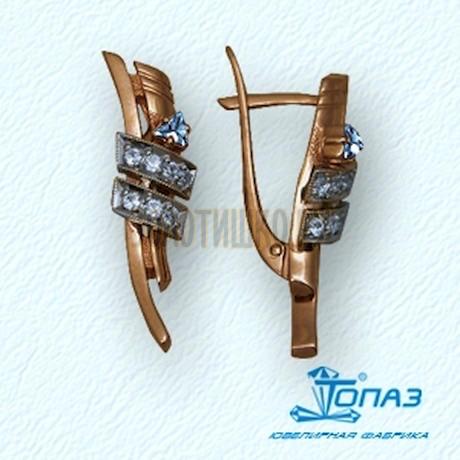 Серьги с топазами и бриллиантами Т13102345