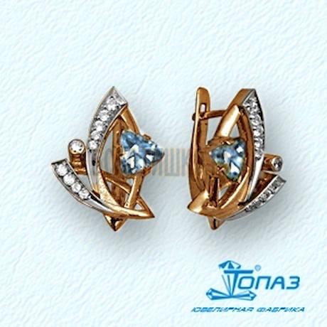 Серьги с топазами и бриллиантами Т13102346_5