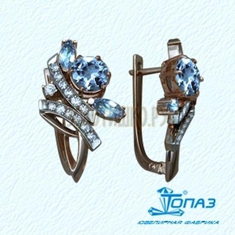 Серьги с топазами и бриллиантами Т13102385