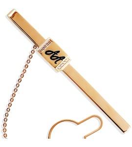 Зажим для галстука с эмалью и фианитами Т18208066
