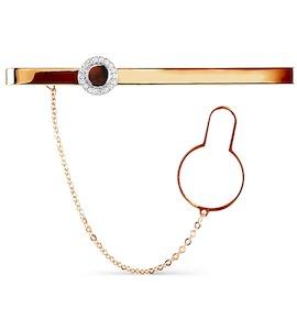 Зажим для галстука с эмалью и фианитами Т18208069-01