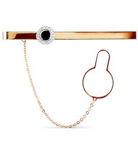 Зажим для галстука с эмалью и фианитами Т18208069