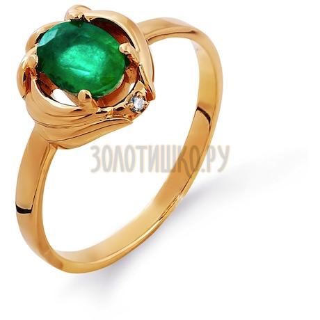 Кольцо с изумрудом и бриллиантом Т101011532
