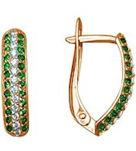 Серьги с изумрудами и бриллиантами Т101021019_3