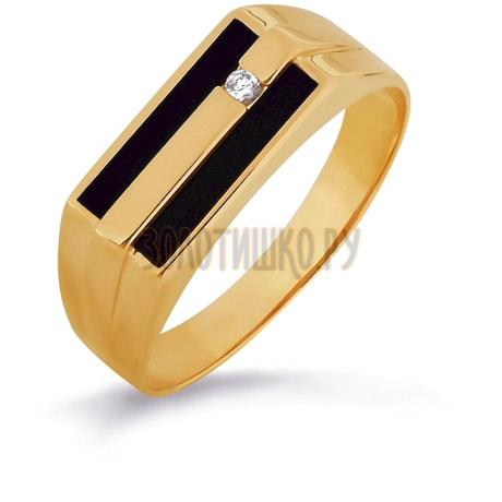 Кольцо с ониксами и фианитом Т102046019