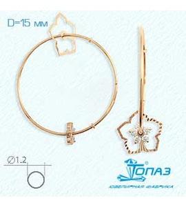 Серьги конго с фианитами Т102621500