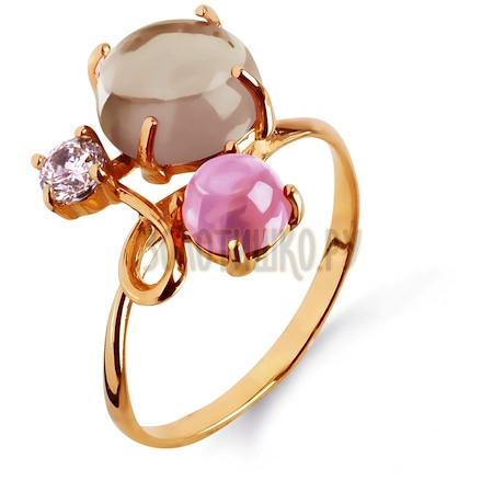 Кольцо с кварцем, раухтопазом и фианитом Т103013679-02