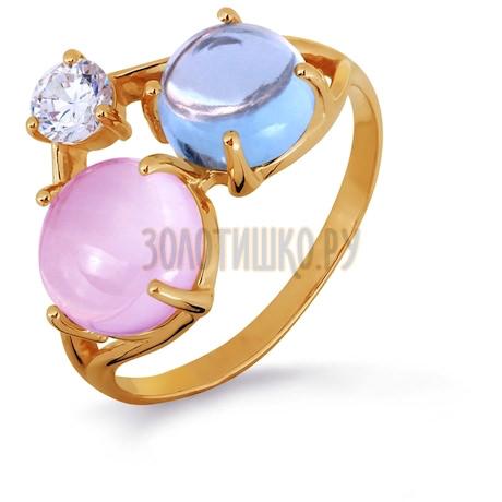 Кольцо с кварцем, топазом и фианитом Т103013681-01