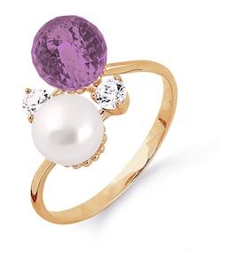 Кольцо с жемчугом, аметистом и фианитами Т103013686-01