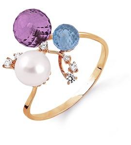 Кольцо с жемчугом, аметистом, топазом и фианитами Т103013687-02