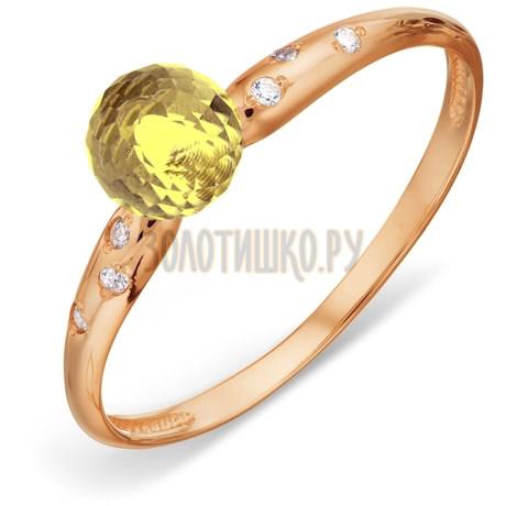 Кольцо с цитрином и фианитами Т103018546-04