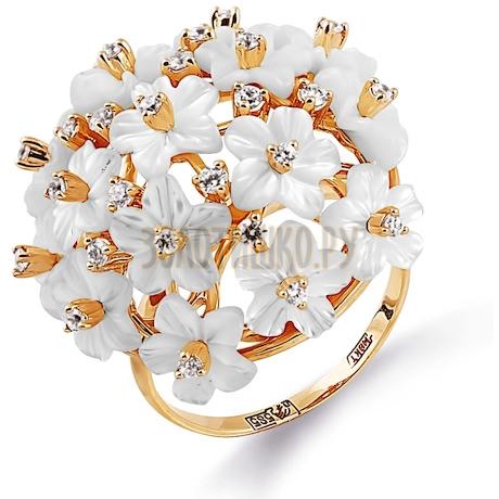 Кольцо с перламутром и фианитами Т113014403