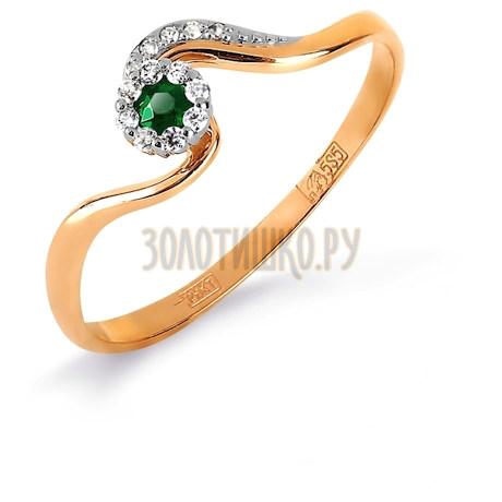 Кольцо с изумрудом и бриллиантами Т131017125