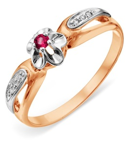 Кольцо с рубином и бриллиантами Т131018904_2