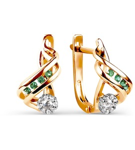 Серьги с изумрудами и бриллиантами Т131025614_3
