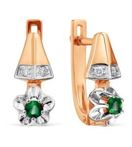 Серьги с изумрудами и бриллиантами Т131029317