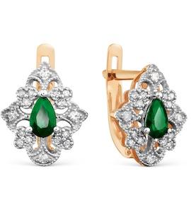 Серьги с изумрудами и бриллиантами Т131029595_3