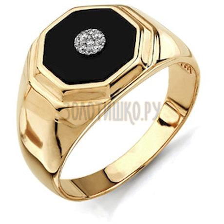 Кольцо с бриллиантами и ониксом Т131043140