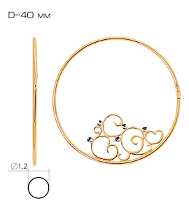 Серьги конго из красного золота Т140622364