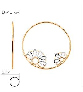 Серьги конго из красного золота Т140622366
