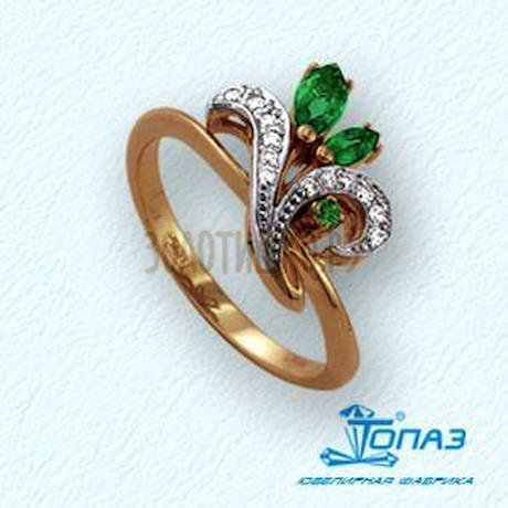 Кольцо с изумрудами и бриллиантами Т141011285_2