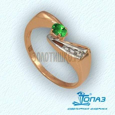 Кольцо с изумрудом и бриллиантами Т141011343