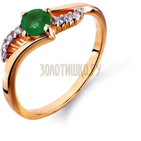 Кольцо с изумрудом и бриллиантами Т141011346_3