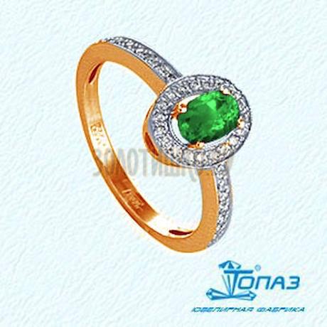 Кольцо с изумрудом и бриллиантами Т141011382_3